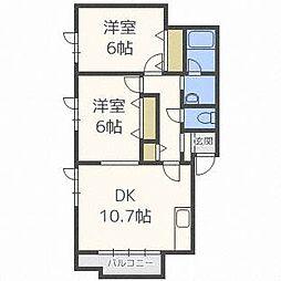 北海道札幌市東区北三十条東7丁目の賃貸アパートの間取り