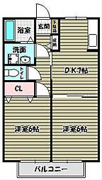 パラシオ北野田[2階]の間取り