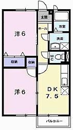エスポワール21B[202号室]の間取り
