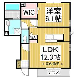 サンティール京 1階1LDKの間取り