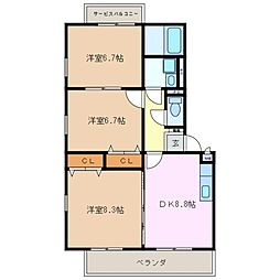三重県四日市市ときわ2丁目の賃貸マンションの間取り