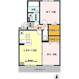 埼玉県草加市新栄3丁目の賃貸マンションの間取り