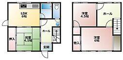 中西アパート 1階3DKの間取り