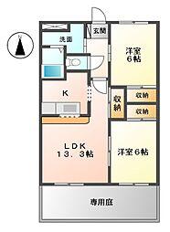 リジェール段[1階]の間取り