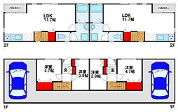 JR鹿児島本線 福間駅 徒歩20分の賃貸タウンハウス 2LDKの間取り