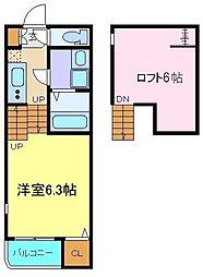 JR東北本線 仙台駅 徒歩10分の賃貸アパート 1階1Kの間取り