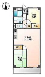 愛知県名古屋市東区矢田1丁目の賃貸マンションの間取り
