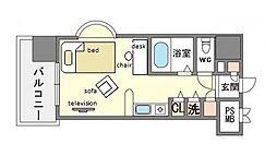 家具・家電付きモントーレ天神 A[3階]の間取り
