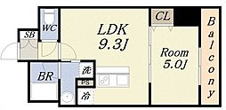 サンガーデン 6階1LDKの間取り