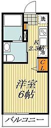 JR総武線 平井駅 徒歩6分の賃貸アパート 1階ワンルームの間取り