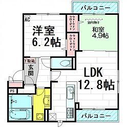 大阪府吹田市垂水町1丁目の賃貸アパートの間取り