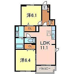 サンレミラティエ3[1階]の間取り