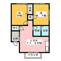 コーポはせ川2nd[2階]の間取り
