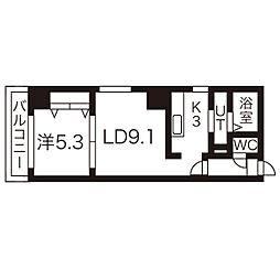 札幌市営南北線 さっぽろ駅 徒歩4分の賃貸マンション 8階1LDKの間取り