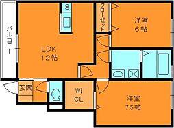 奈良県香芝市北今市5丁目の賃貸アパートの間取り