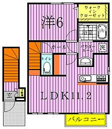 千葉県柏市西原3丁目の賃貸アパートの間取り