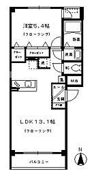 モンテローザ北斗町 2階1LDKの間取り