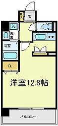 レバンガ阿倍野AP 5階ワンルームの間取り
