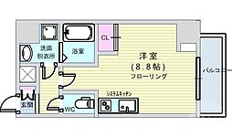 Osaka Metro長堀鶴見緑地線 西大橋駅 徒歩1分の賃貸マンション 6階ワンルームの間取り