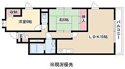 愛知県名古屋市名東区つつじヶ丘の賃貸マンションの間取り