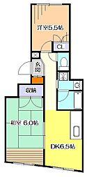 東京都東大和市中央1丁目の賃貸マンションの間取り