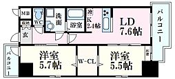 広島電鉄5系統 段原一丁目駅 徒歩17分の賃貸マンション 10階2LDKの間取り