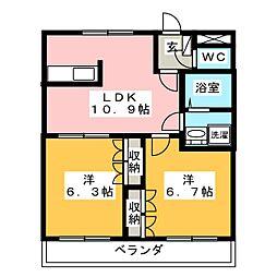 ツインヒルズ弐番館[2階]の間取り