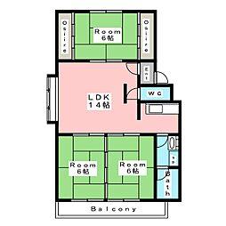 百石マンション2号館[4階]の間取り