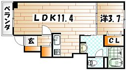 福岡県北九州市小倉南区湯川5丁目の賃貸アパートの間取り