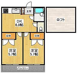 東京都狛江市駒井町2丁目の賃貸アパートの間取り
