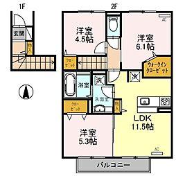 セジュール・プルニエ2 A棟[2階]の間取り