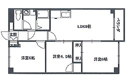 ホワイトマンション(駅徒歩4分、分譲タイプ)[604(日当たり良好)号室]の間取り