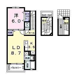 JR身延線 東花輪駅 徒歩13分の賃貸アパート 3階1LDKの間取り