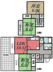 [一戸建] 千葉県四街道市みそら2丁目 の賃貸【/】の間取り