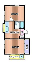 東京都立川市砂川町7丁目の賃貸アパートの間取り
