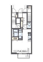 クレイノKEEP NEXT I(56783-102) 1階ワンルームの間取り