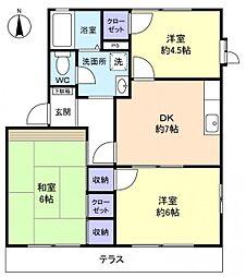 フローラ勝田台B棟[1階]の間取り
