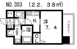 クレアートクラウン天王寺[401号室号室]の間取り