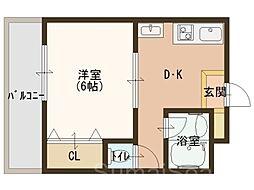 昌和鳳[3階]の間取り