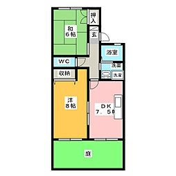 ボナール山田B棟[1階]の間取り