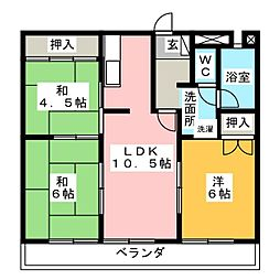 飯田ハイツ[3階]の間取り