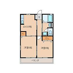 静岡県静岡市駿河区丸子の賃貸アパートの間取り