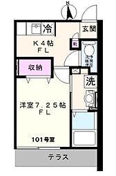 東京都板橋区富士見町の賃貸アパートの間取り