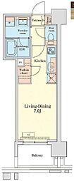 都営浅草線 泉岳寺駅 徒歩14分の賃貸マンション 2階1Kの間取り