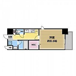 スタシオン俊徳道 8階1Kの間取り
