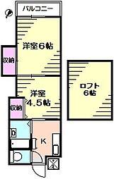 大浜ハイツ1号[2階]の間取り
