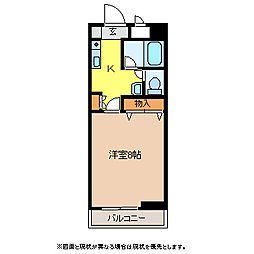 JR中央本線 塩尻駅 徒歩34分の賃貸マンション 4階1Kの間取り