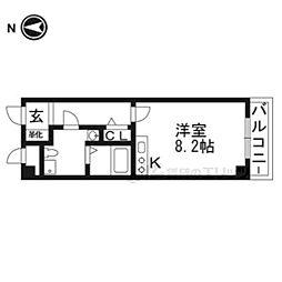 プラスコート西豊川 3階1Kの間取り