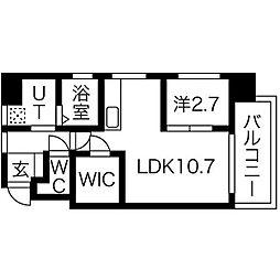 福岡市地下鉄空港線 赤坂駅 徒歩3分の賃貸マンション 4階1LDKの間取り