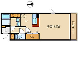 阪神本線 武庫川駅 徒歩19分の賃貸マンション 3階1Kの間取り